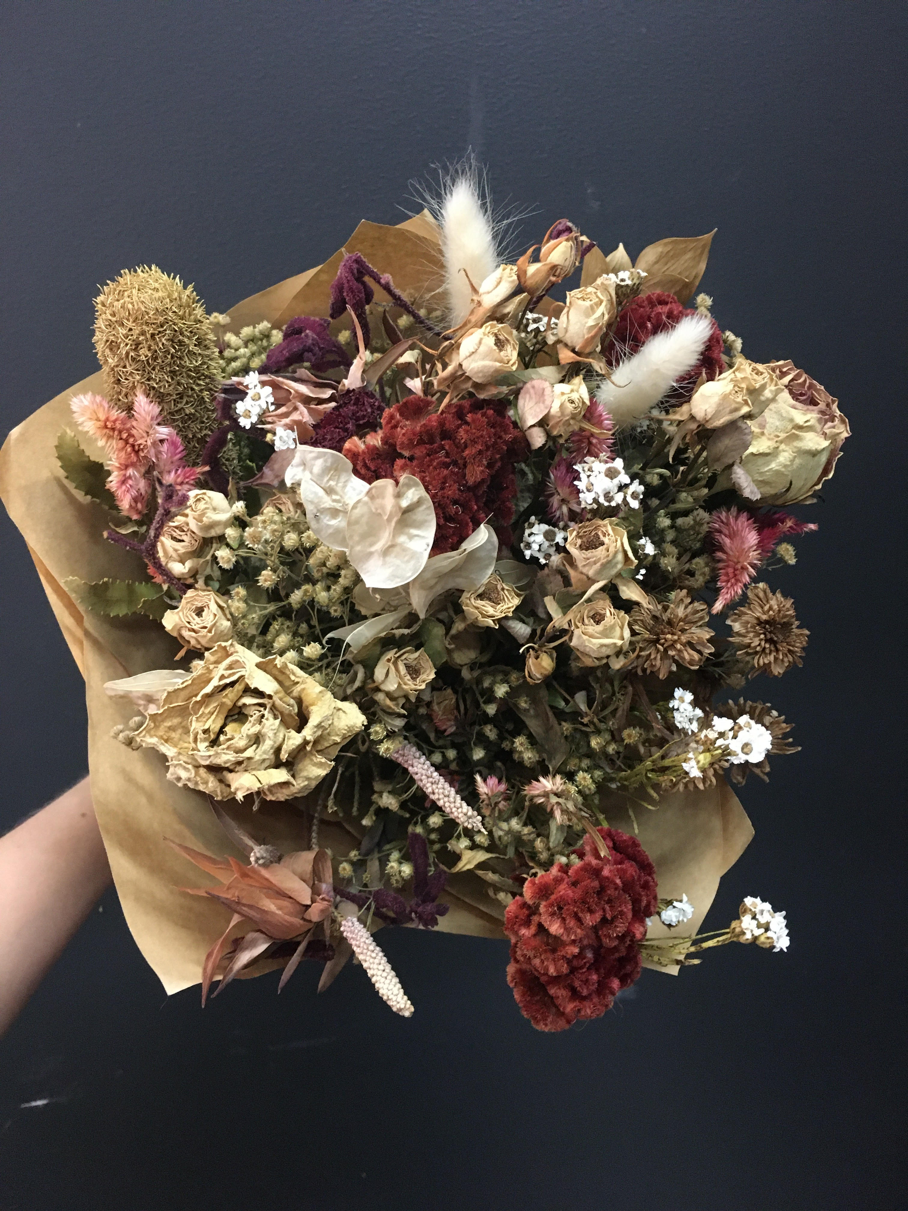 Red & White Delight Dried Flower Bouquet