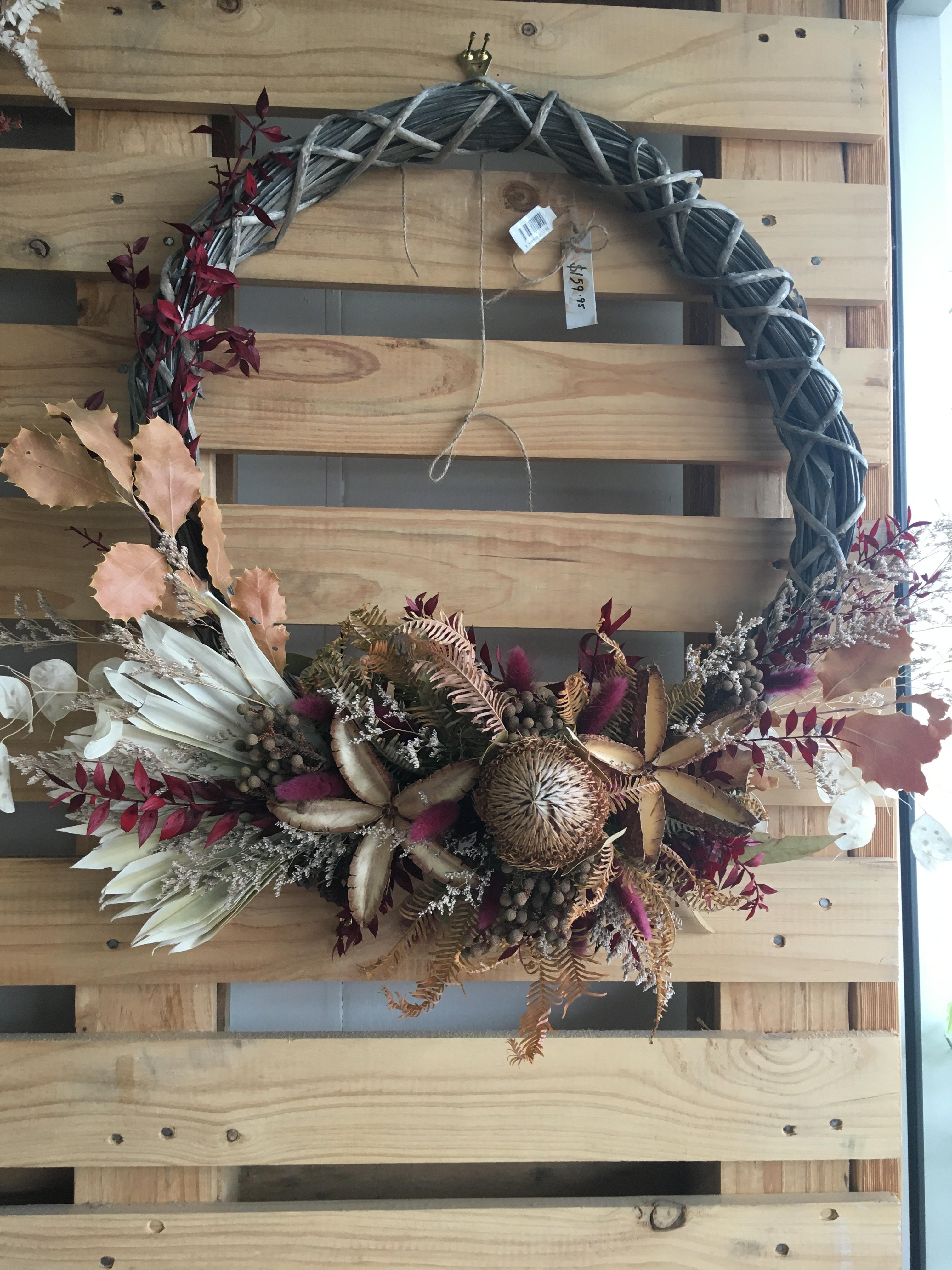 Maroon Tones Dried Flower Wreath